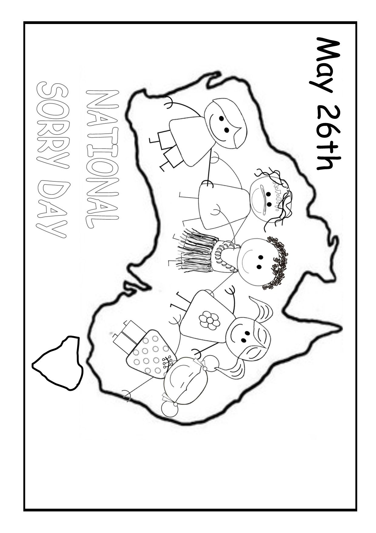 National Sorry Day Australia. Colouring printable