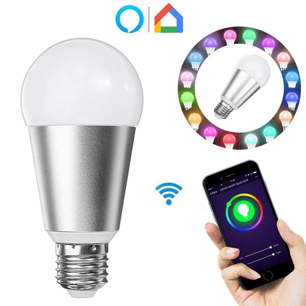 Wholesale Price Free Shipping E27 Dimmable Led E27 7w Rgbw Wifi App Control Smart Light Bulb Work With Alexa Google Home Ac110 240v