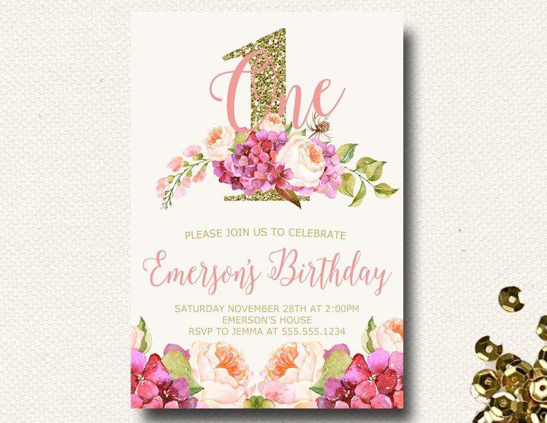 Bright Floral Cranberry Fuchsia Birthday Invitations For Girls