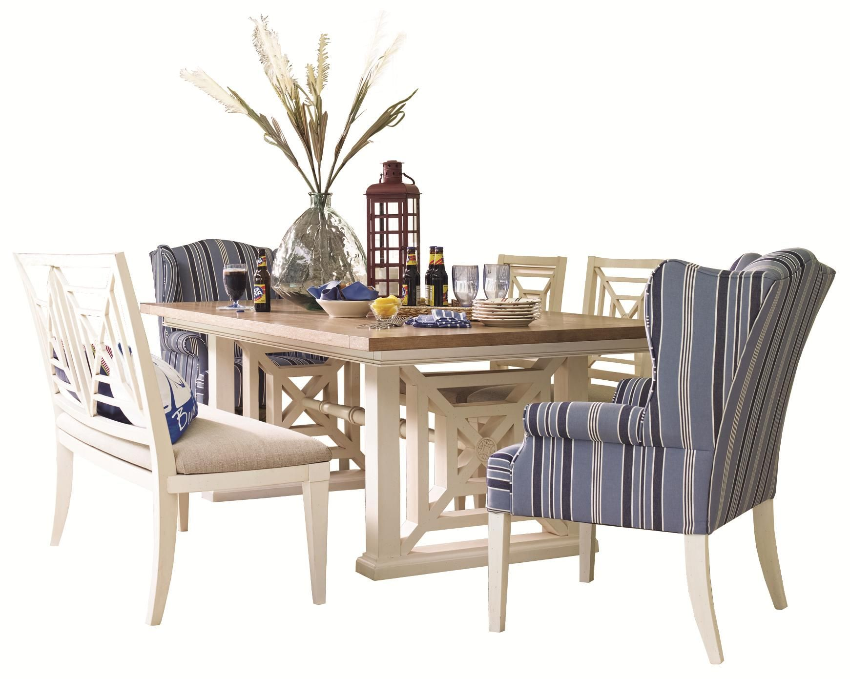 Wateru0027s Edge Trestle Dining Table And Wing Chair Set By HGTV Home Furniture  Collection