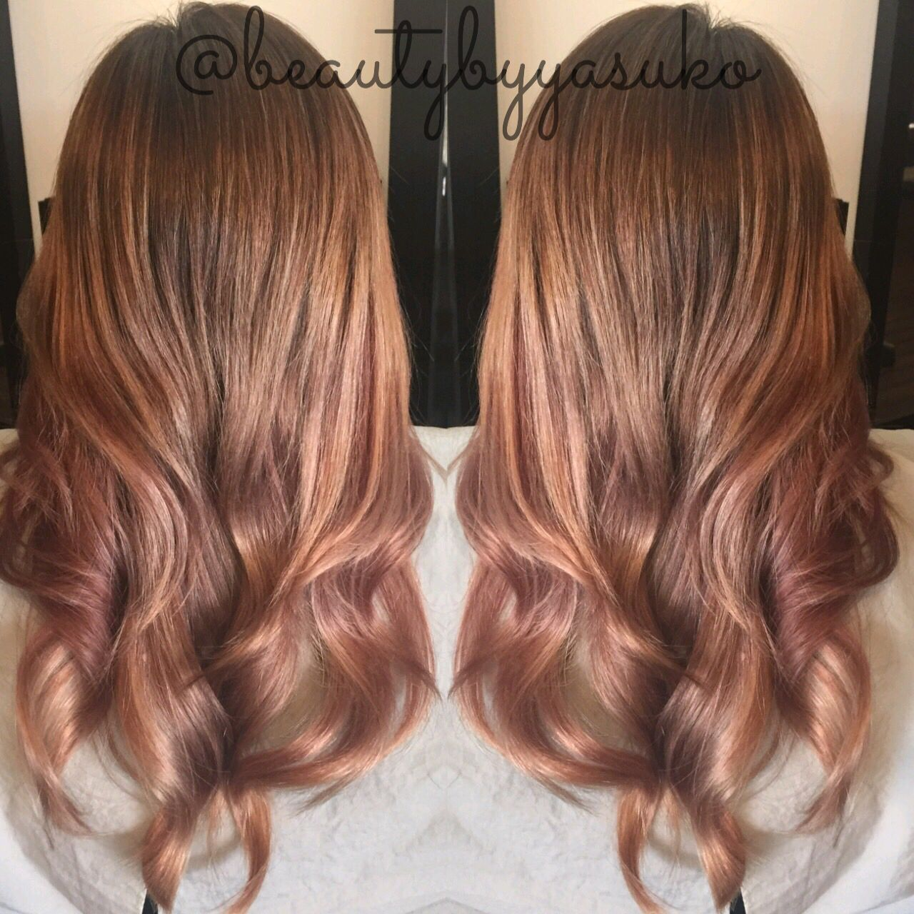 Caramel Salon Transitioning From Rose Gold Hair To Caramel Hair Color By