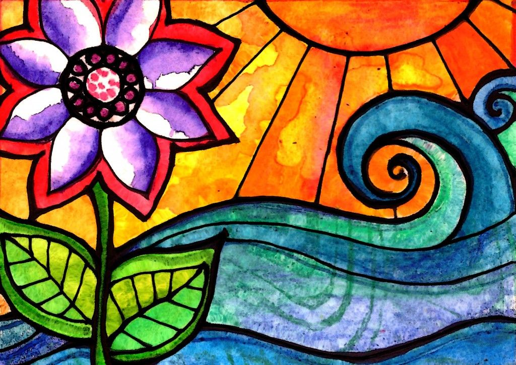 bright and beautiful paiting in mixed media...flower, sun & sea...