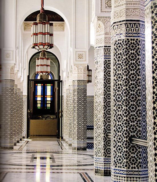 Zellij Covered Columns In La Mamounia Hotel Featured Marrakesh By Design Book Moroccan