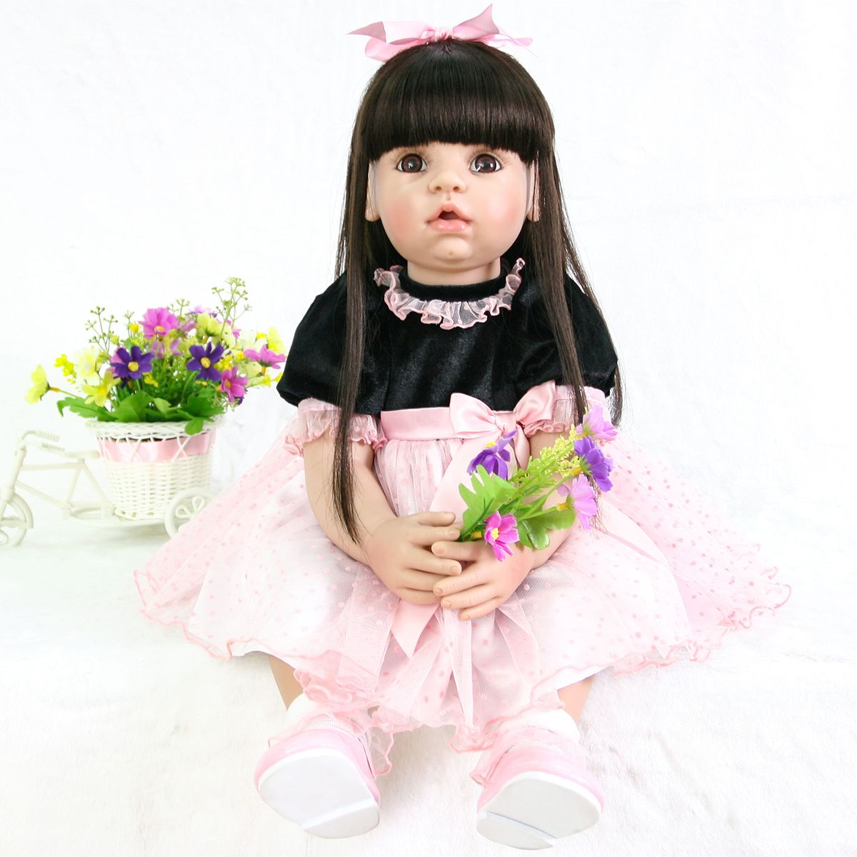 Toddler Dolls Reborn Silicone Baby Blonde Hair Real Girl Princess for Child 24in