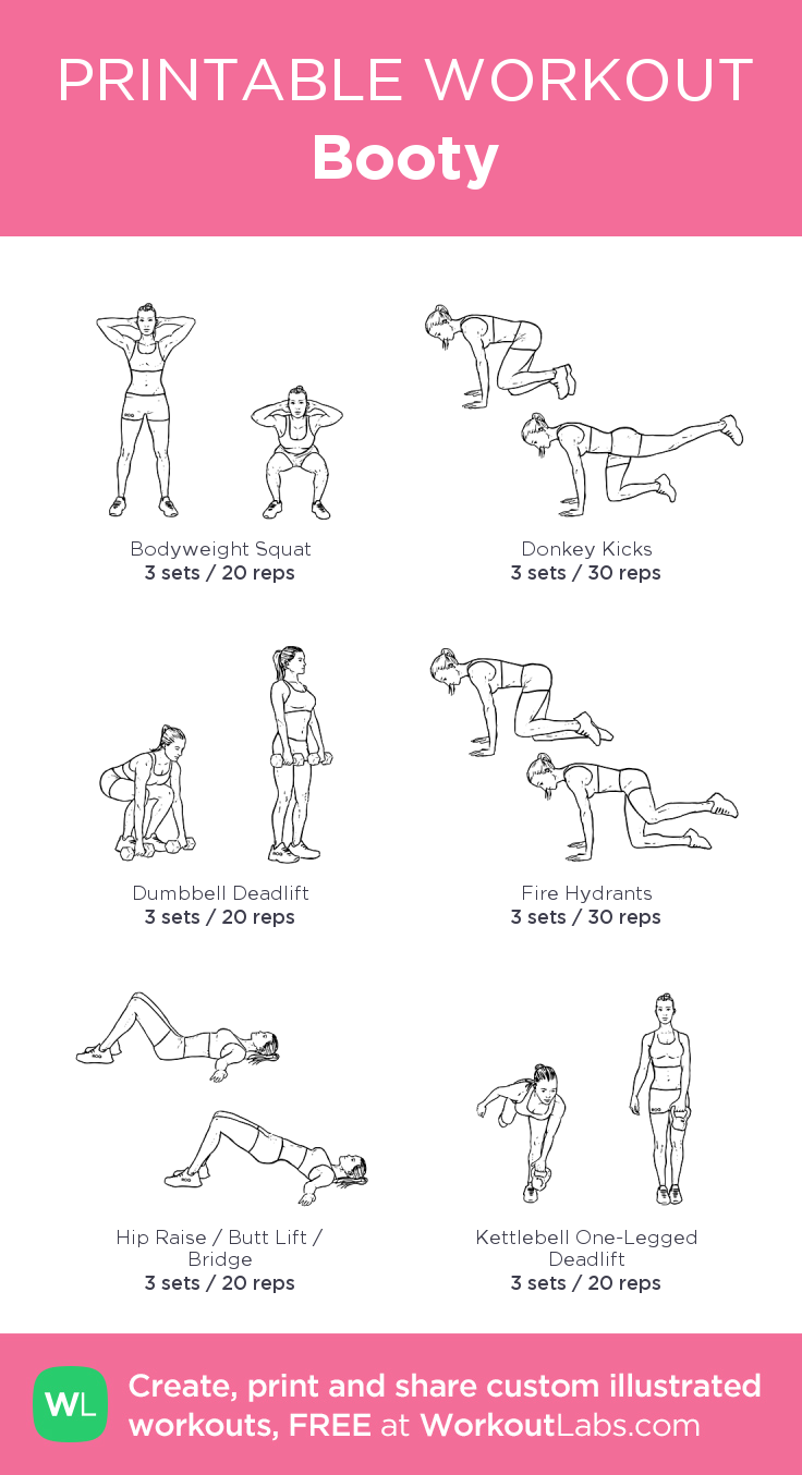 image relating to Printable Workouts called Booty: my custom made printable exercise by means of @WorkoutLabs