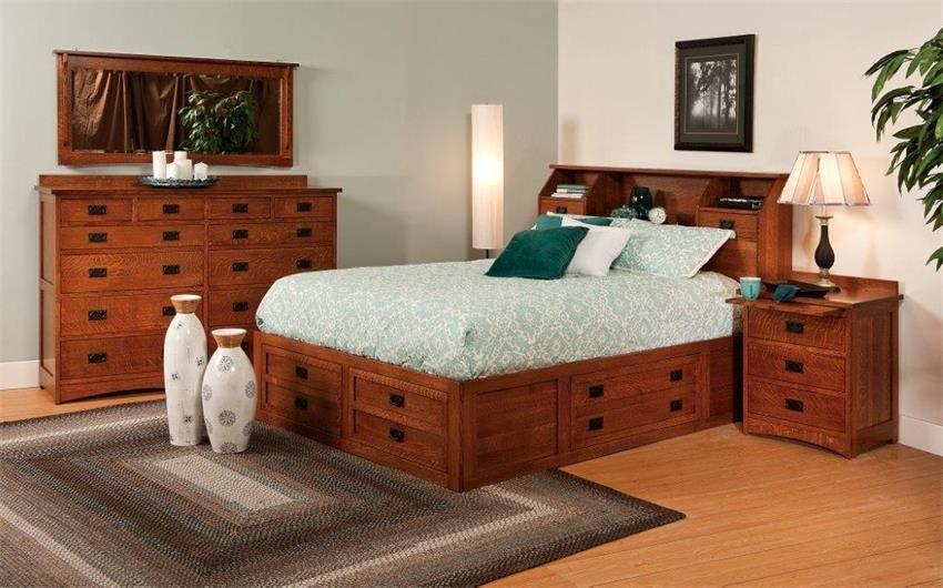 Amish Jacobson Bed with Storage Platform
