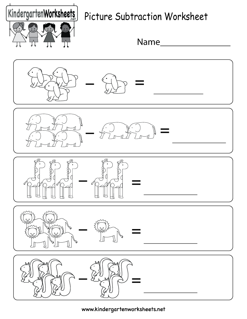 picture subtraction worksheet printable   Kindergarten subtraction  worksheets [ 1035 x 800 Pixel ]