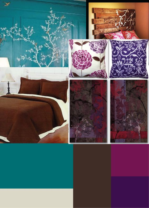 Brown Bedding With Dark Purple And Cranberry Accents