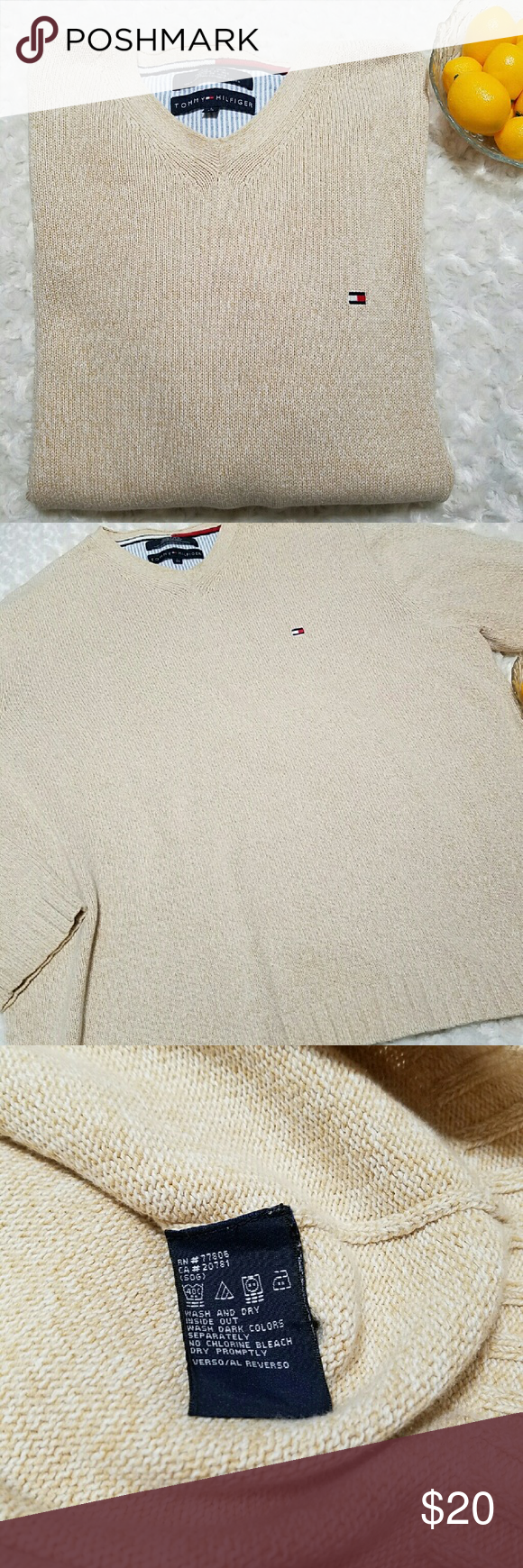 "Hilfiger Men's Sweater Tommy Hilfiger men's oatmeal colored v neck sweater. EUC  No flaws.  Pit to pit 25 1/2""  Length 27"" Tommy Hilfiger Sweaters V-Neck"