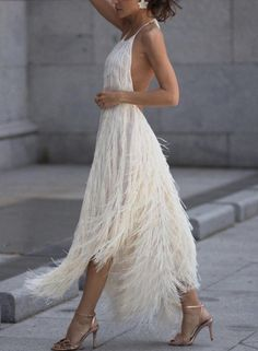 White Backless Irregular Cocktail Dresses With Tassel #backlesscocktaildress