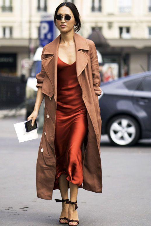 Silk slip dress, trench coat, circle sunglasses and tie-up heels ...