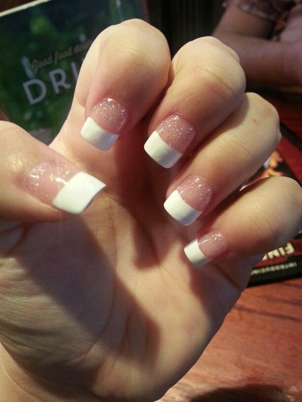 French acrylic nails with glitter base   nail ideas   Pinterest ...