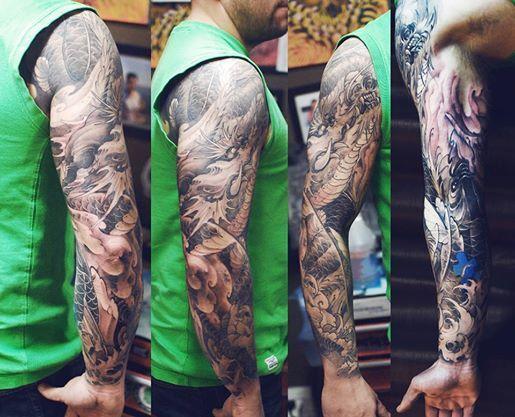Chronic Ink Tattoo - Toronto Tattoo - Dragon and Koi tattoo by Tristen.