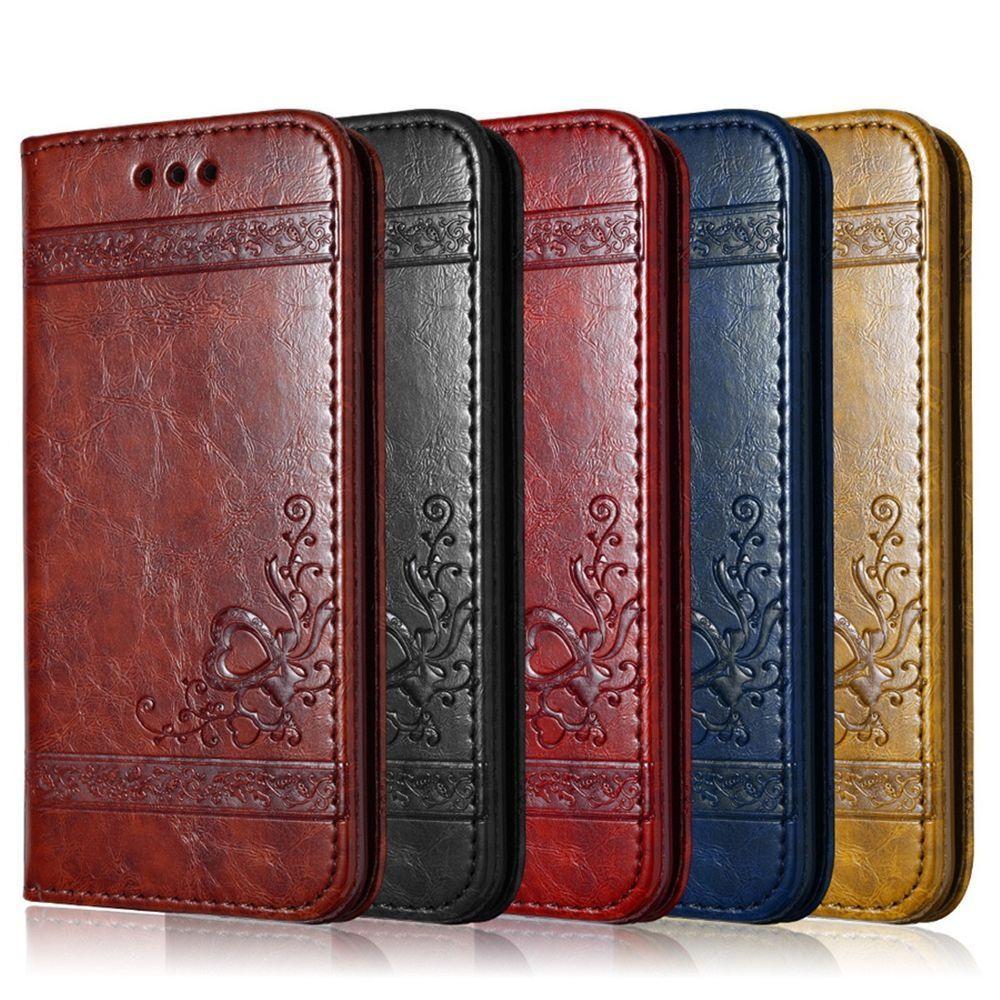 Leather Flip Phone Case For iPhone X 7 8 Plus Retro Vintage Wallet ...