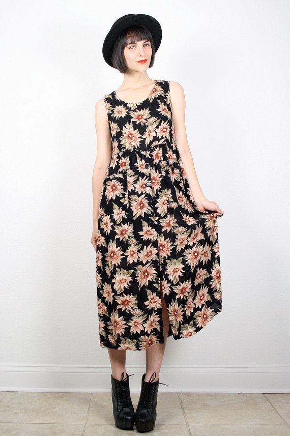 ef21562a Vintage 90s Dress Grunge Dress Sunflower Dress Black Tan Floral ...