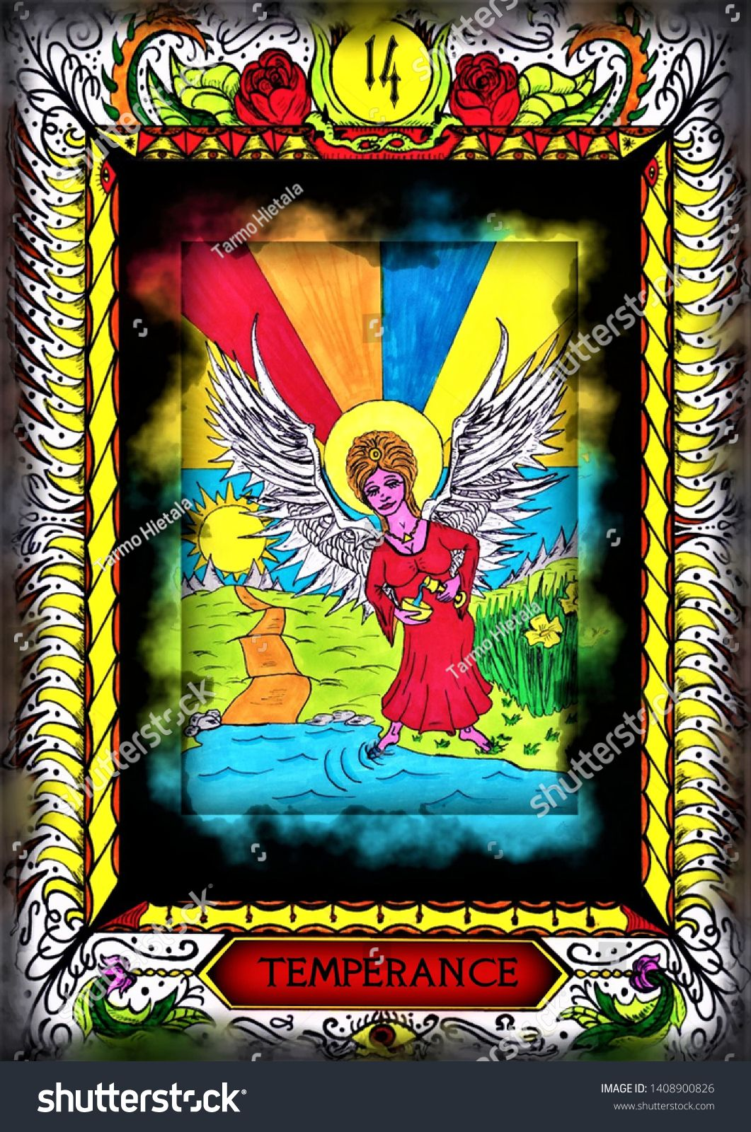 Customized tarot card temperance hand drawn all of the