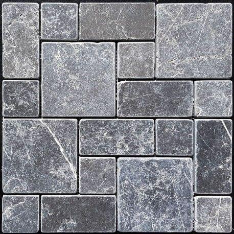 pietra grey mini french pattern tumbled limestone mosaic