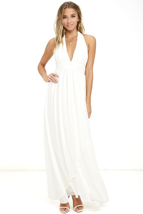 Stop And Stare Ivory Halter Maxi Dress White Halter Maxi Dress Halter Maxi Dresses White Halter Dress