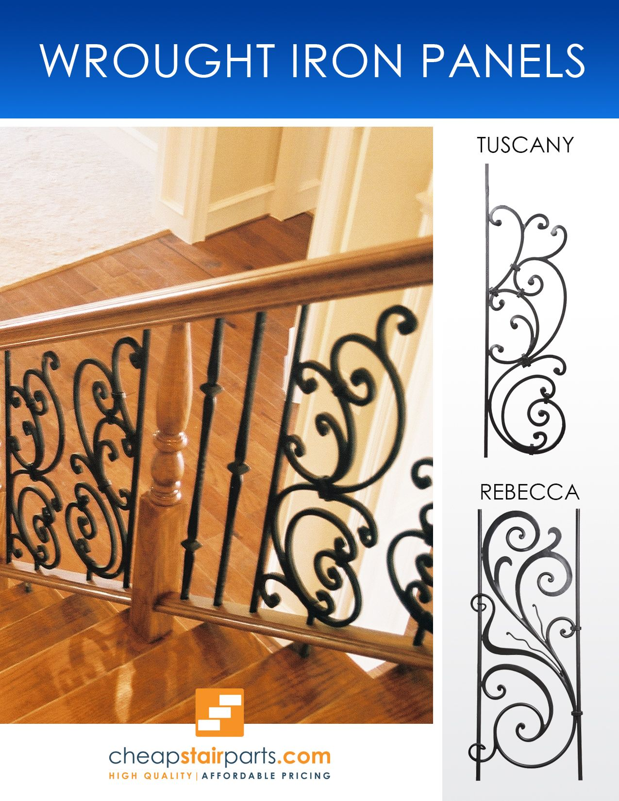 Wrought Iron Panels Are Used To Add A Decorative Focal Point Into Your Stair Or Balcony Railing Or You Can Mak Wrought Iron Stairs Stair Remodel Iron Balusters