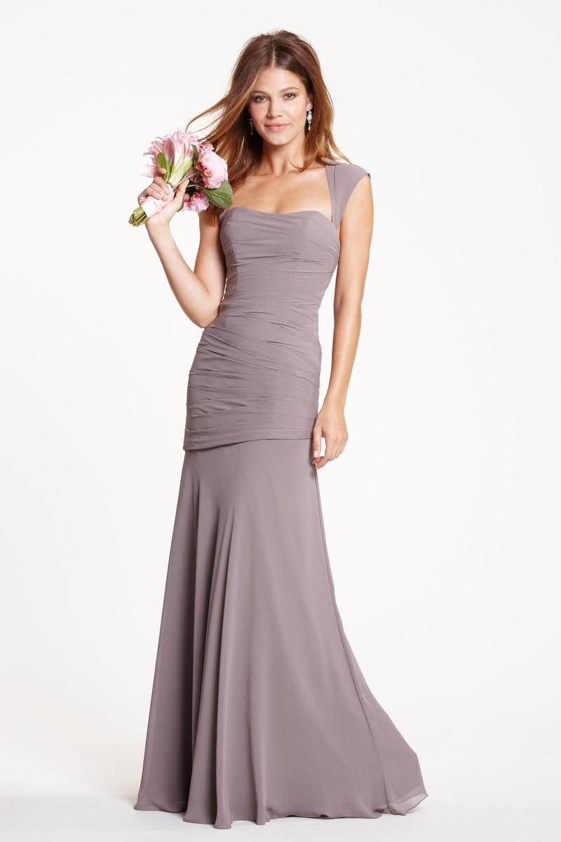 Contoured queen ann neckline long crinkle chiffon bridesmaid dress contoured queen ann neckline long crinkle chiffon bridesmaid dress has draped dropped waist bodice and fit ombrellifo Image collections