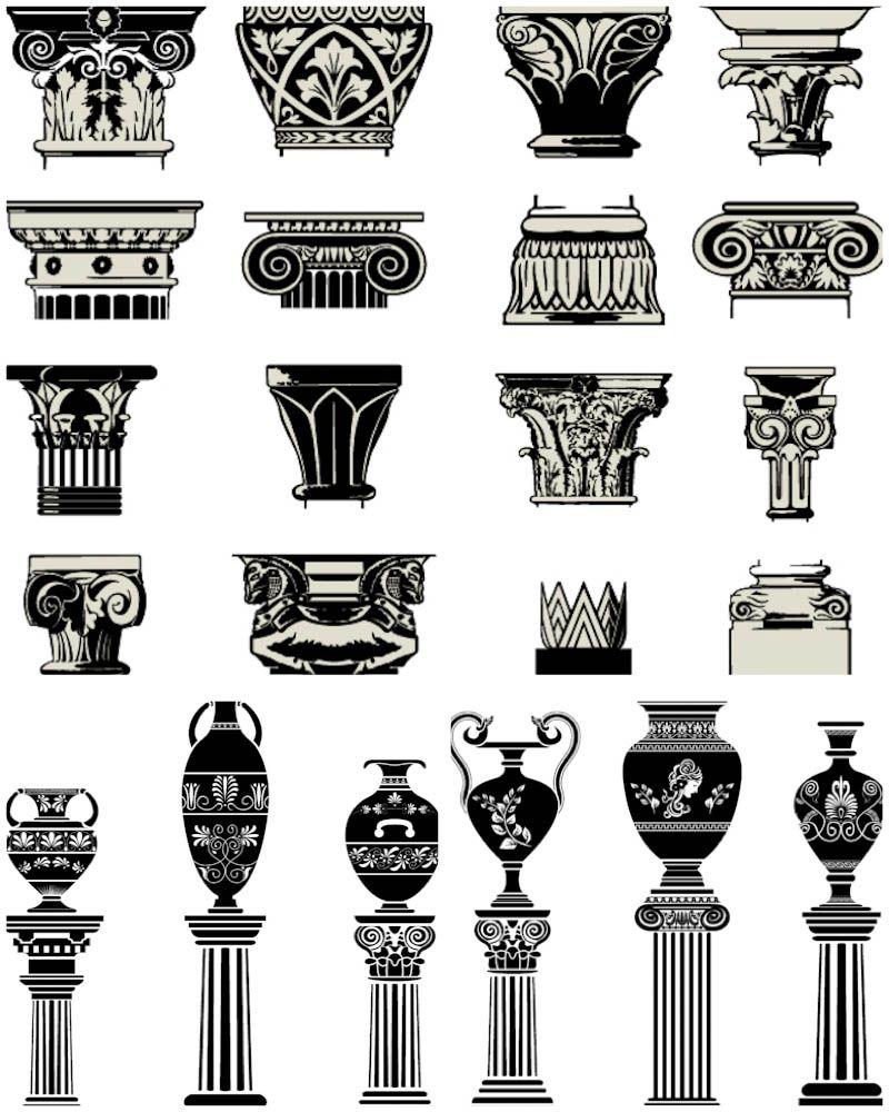 Column capitals vector. 3 sets with vector ancient column
