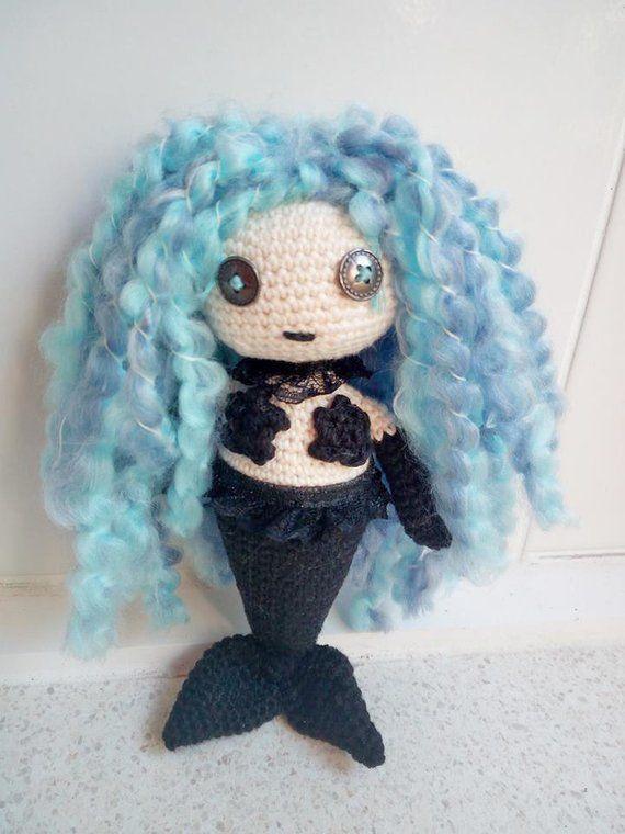 Voodoo Goth Inspired Amigurumi Mermaid Doll . Goth Mermaid Crochet Doll , OOAK Doll  Voodoo Goth Inspired Amigurumi Mermaid Doll . Goth Mermaid Crochet Doll , OOAK Doll  #Amigurumi #Crochet #Doll #goth #Inspired #Mermaid #ooak #voodoo