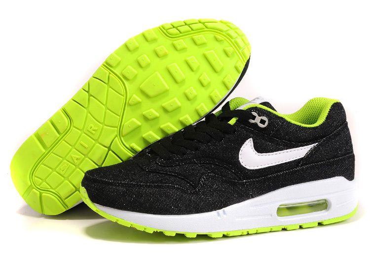 nike air max 1 black white green