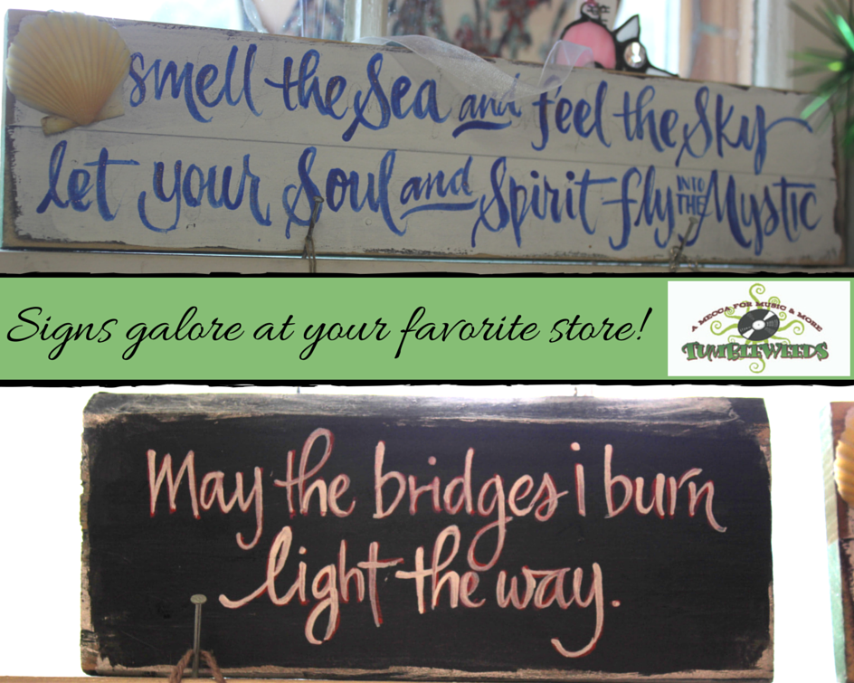 Start decorating inside or out with our gorgeous wall decor! #Signs #WallDecor #Tumbleweeds #NianitcCT #TumbleweedsNiantic #ShopLocal #SupportLocal #BeachTown
