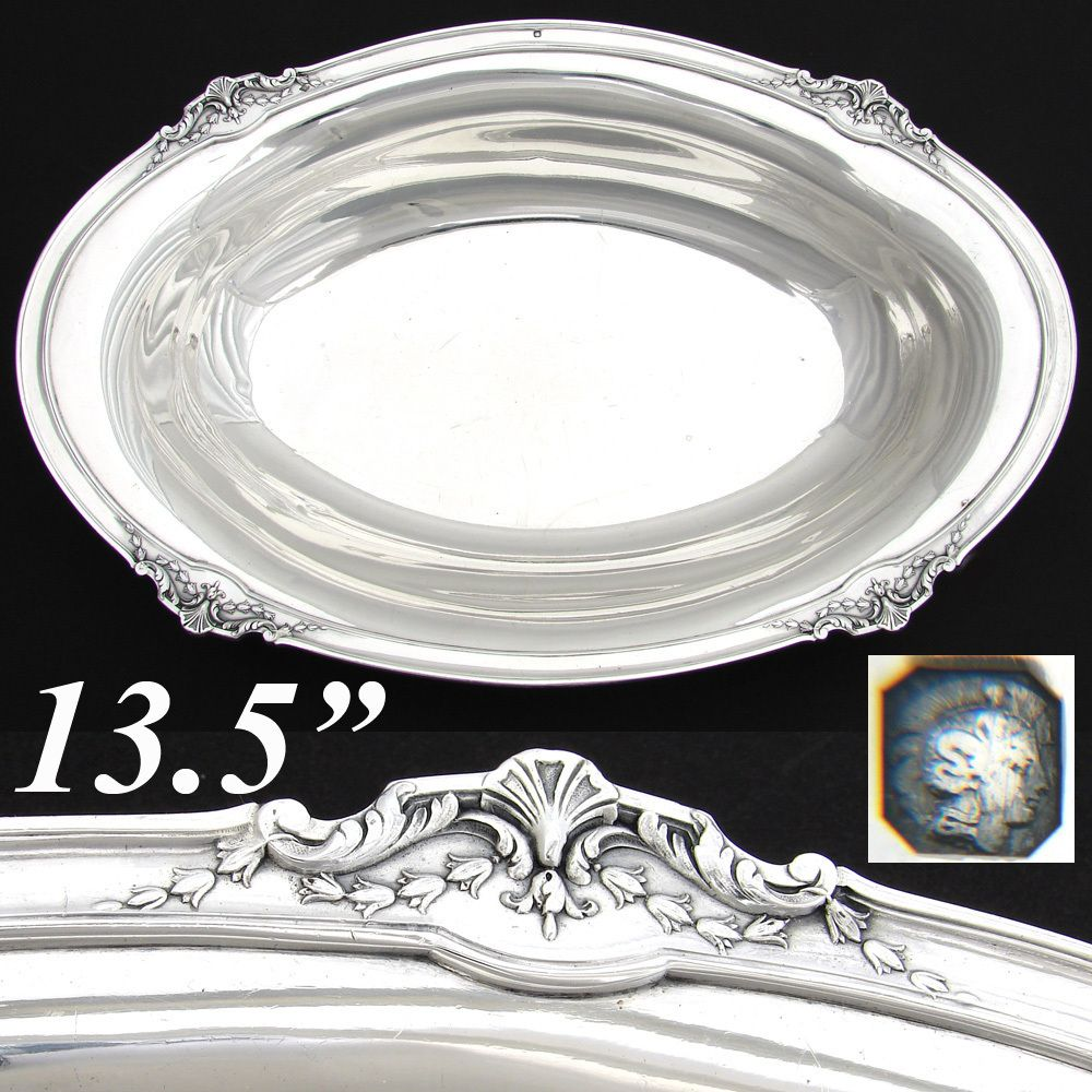 Sterling Silver Bowl Large Antique Oval Silver Silver