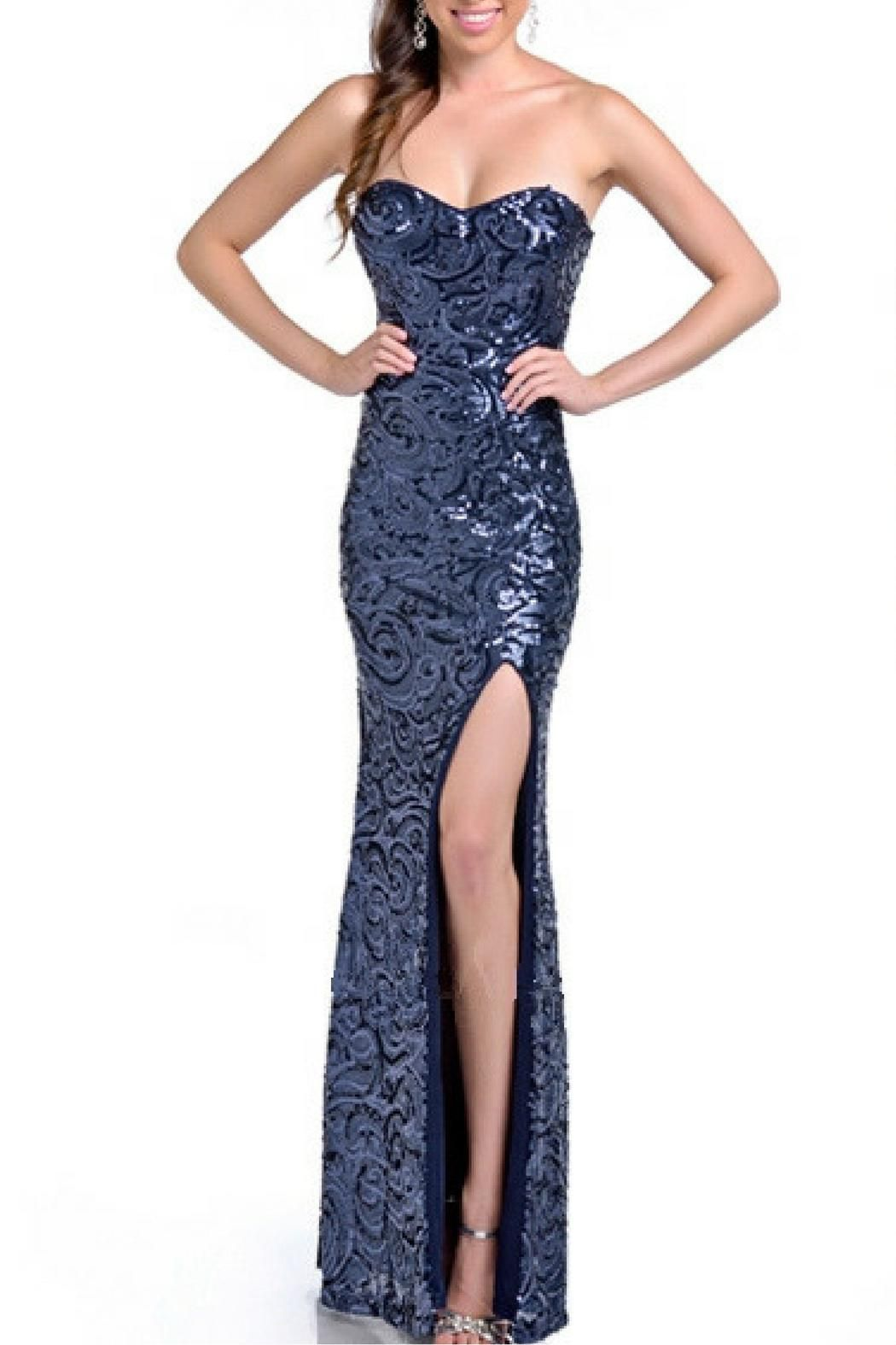 Opt for a timeless look in this navy sequined prom dress floor