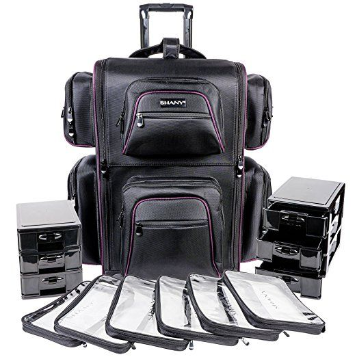 Shany Total Jetsetter Makeup Artist Soft Travel Cosmetics Bag With Multiple Compartment