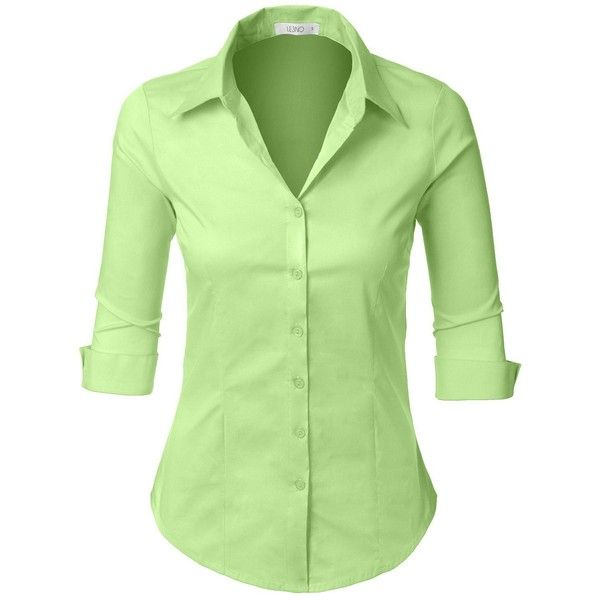 6d629bfa LE3NO Womens Roll Up 3/4 Sleeve Button Down Shirt with Stretch (24 BAM) ❤  liked on Polyvore featuring tops, three quarter sleeve shirts, green button  up ...