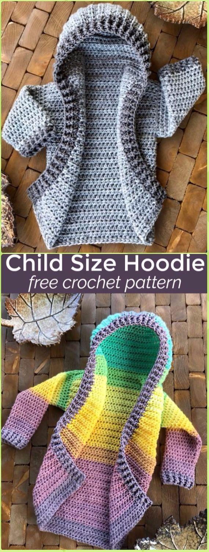 Crochet Kids Hoodie Sweater Coat Free Pattern - Crochet Kid\'s ...