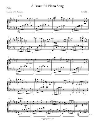 A Beautiful Piano Song Free Sheet Music Transcribed By Dvrancic