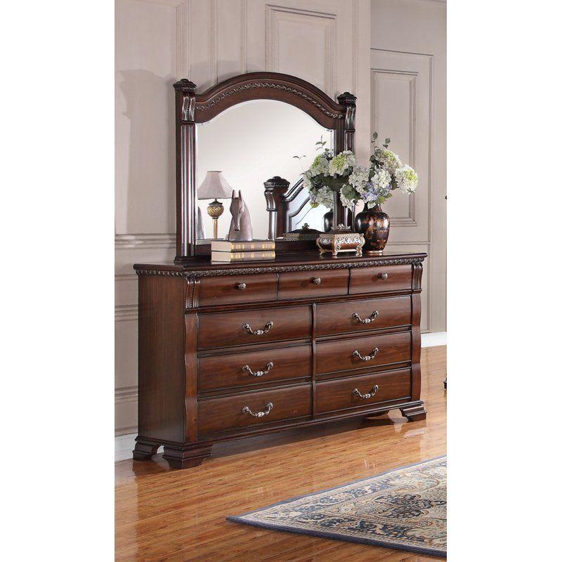 Astoria Grand Quast Vintage 9 Drawer Dresser With Mirror Wayfair Dresser With Mirror Dresser 9 Drawer Dresser