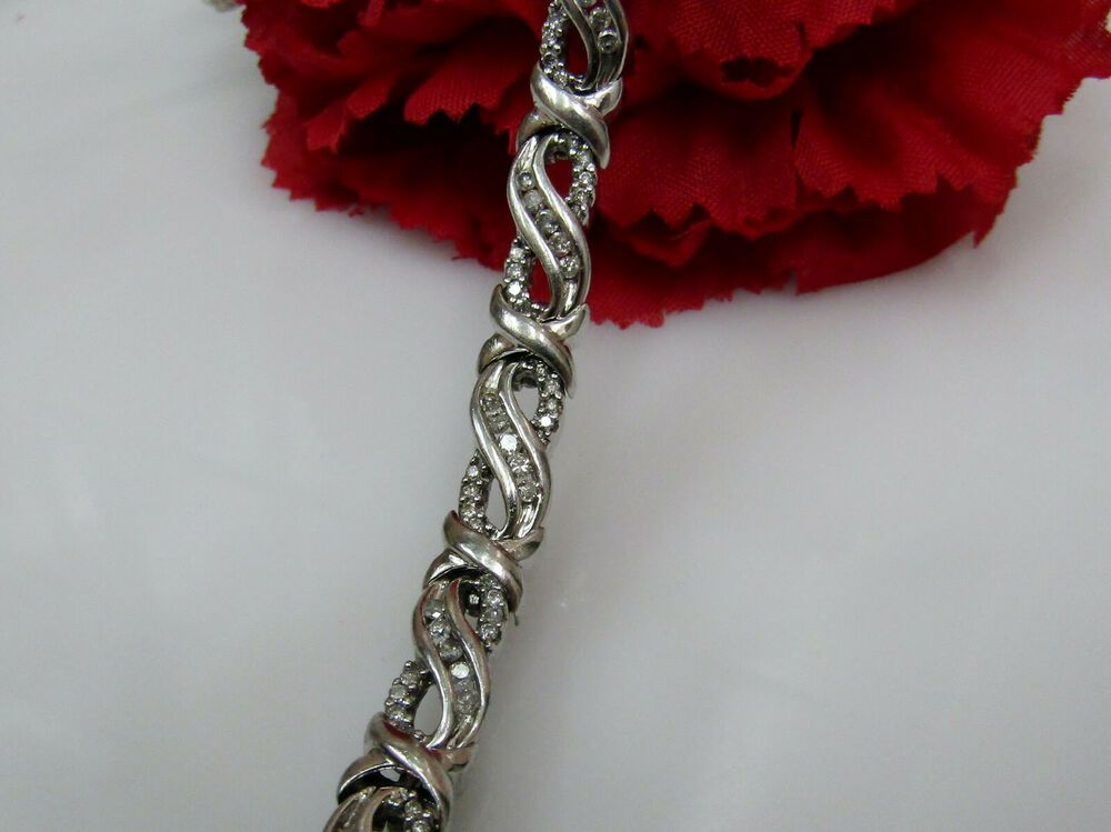 Genuine 1 Carat Diamond Infinity Tennis Bracelet Sterling Silver 7 Inch Tennis Gift Sterling Silver Bracelets Diamond Infinity Infinity Bracelet