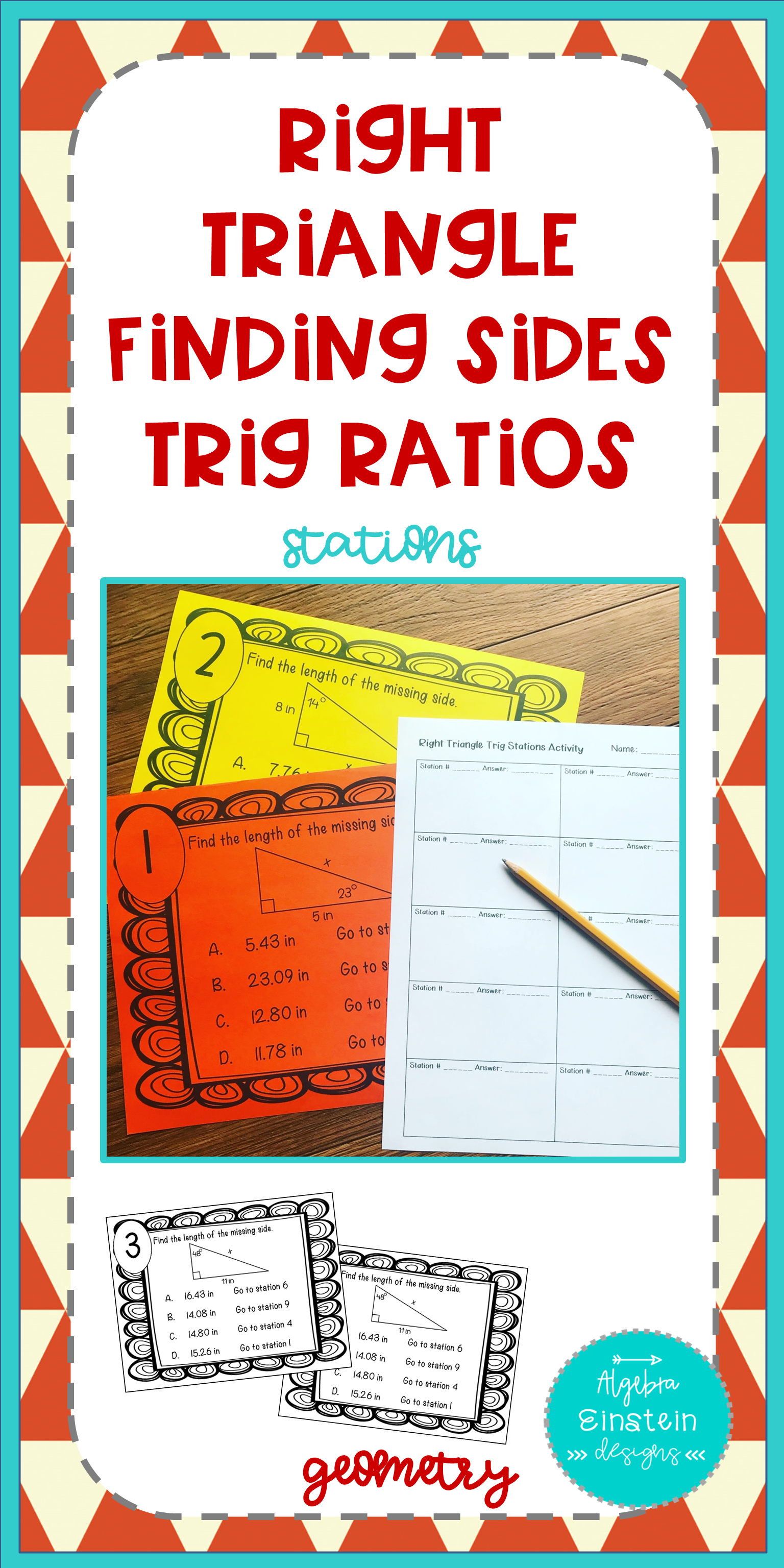 Right Triangle Find Sides With Trig Stations