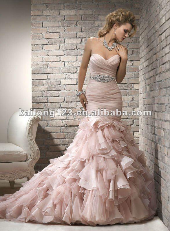 Perfect Elegant Sweetheart Mermaid Ruched Bodice Ruffled Skirt Blush Black Organza Corset Wedding Dress With Sash