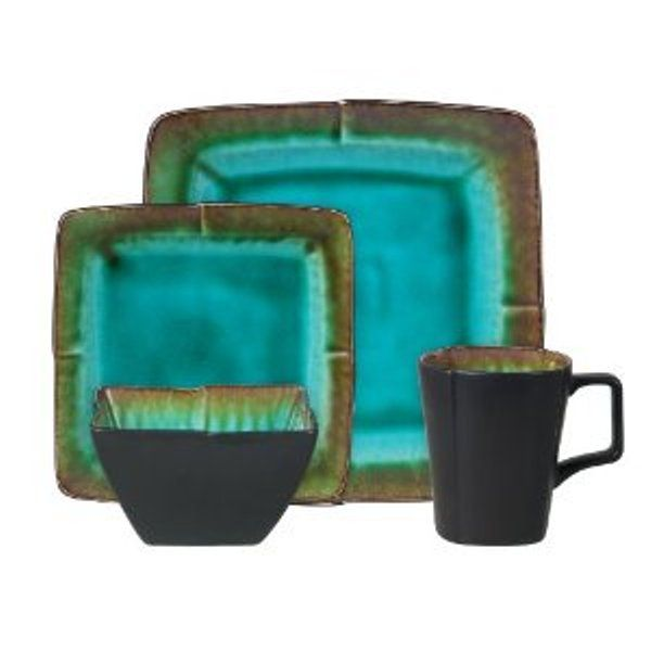 Montorio 16-Piece Square Reactive Glaze Stoneware Dinnerware Set  sc 1 st  Pinterest & dishes set | ... Montorio 16-Piece Square Reactive Glaze Stoneware ...