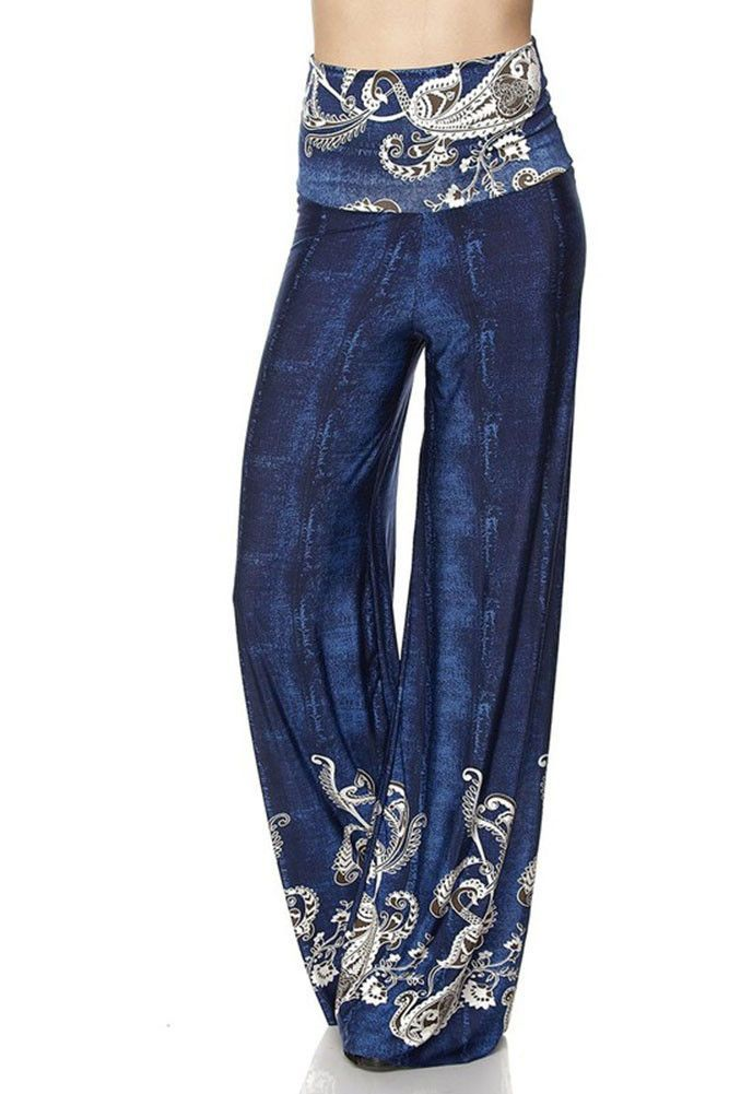 80987343466 High Waist Fold Over Wide Leg Gaucho Palazzo Pants (Vintage Blue Paisley)