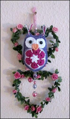 Eule Anhänger african flower - Häkelanleitung | Häkeln crochet ...
