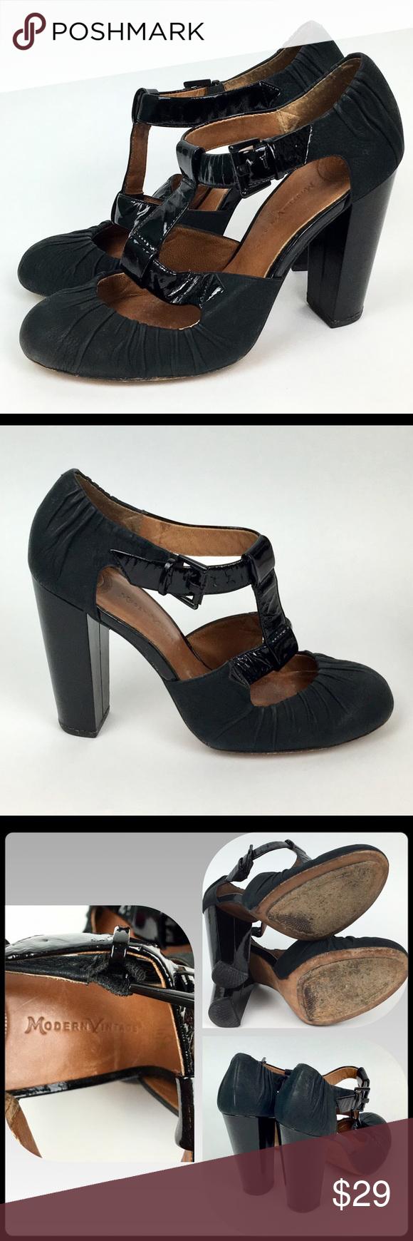 bb150b974d2333 Modern Vintage Black T-Strap Platform Heels 7M  37 Stunning Modern Vintage  Black T-Strap 4