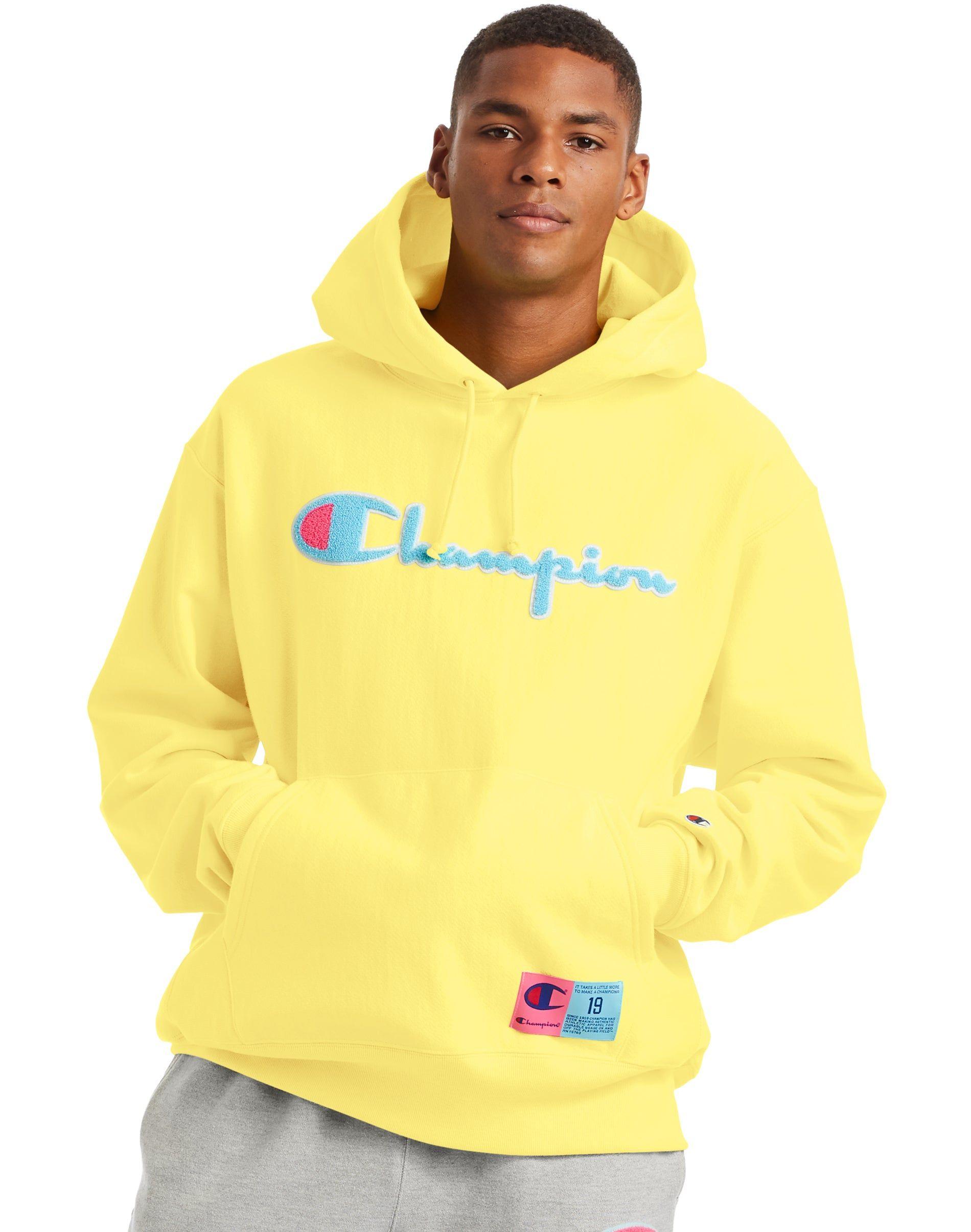 Men S Champion Life Reverse Weave Hoodie Chenille Logo Journey Yellow Champion Clothing Hoodies Sweatshirts Hoodie [ 2410 x 1900 Pixel ]