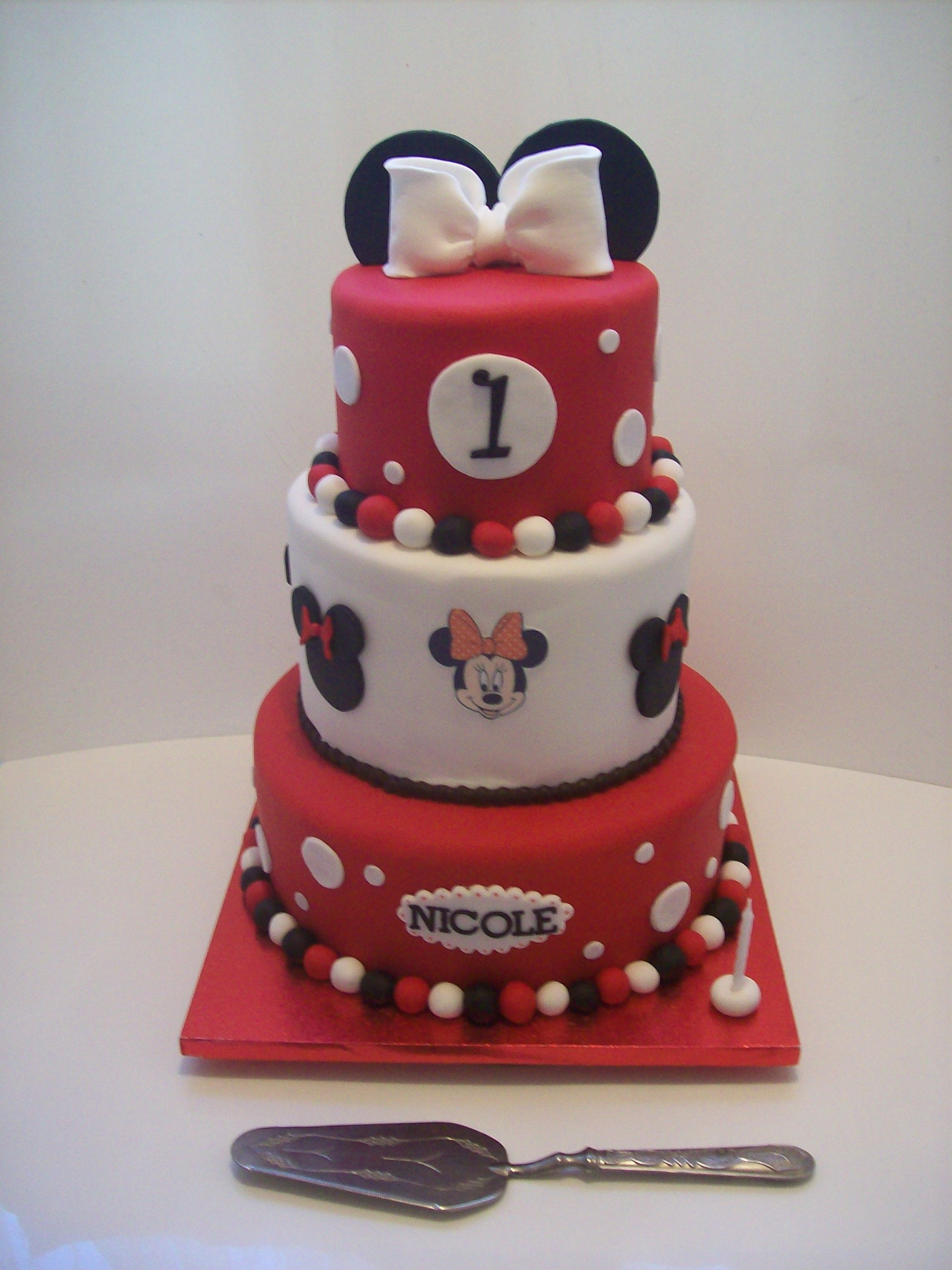 Minnie Mouse 3 tier cake Auckland 550 caters for 120 coffee serves