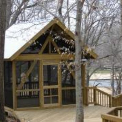 Detached rustic screened porch on elevated deck proof for Rustic porches and decks