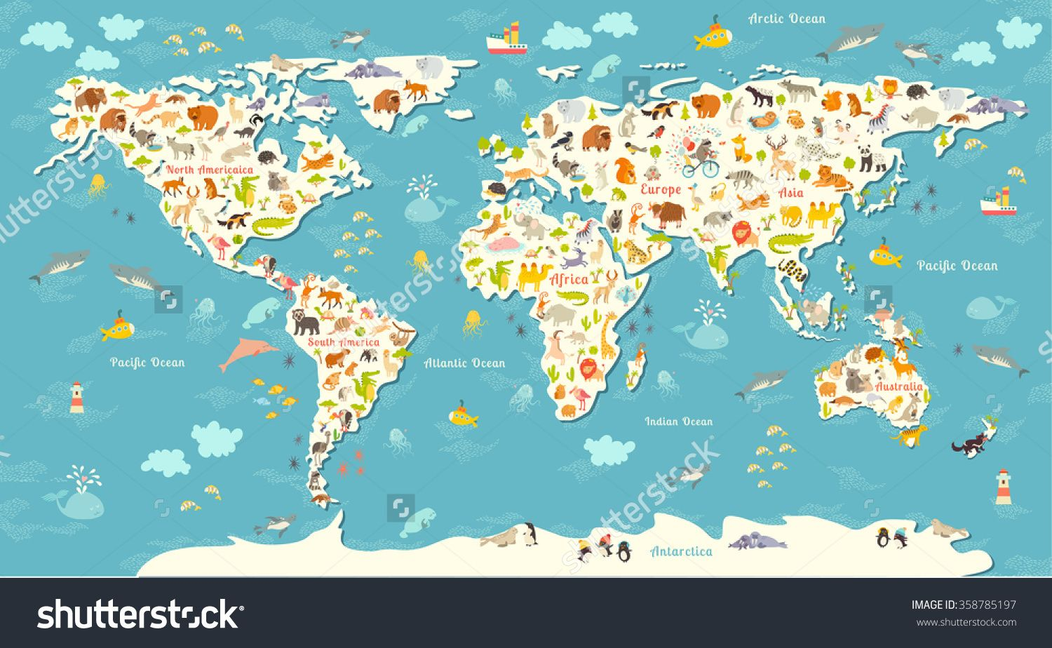 Animals world map beautiful cheerful colorful vector illustration animals world map beautiful cheerful colorful vector illustration for children kids inscription of gumiabroncs Image collections