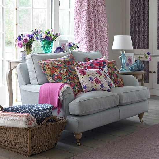 Pink And Grey Country Living Room
