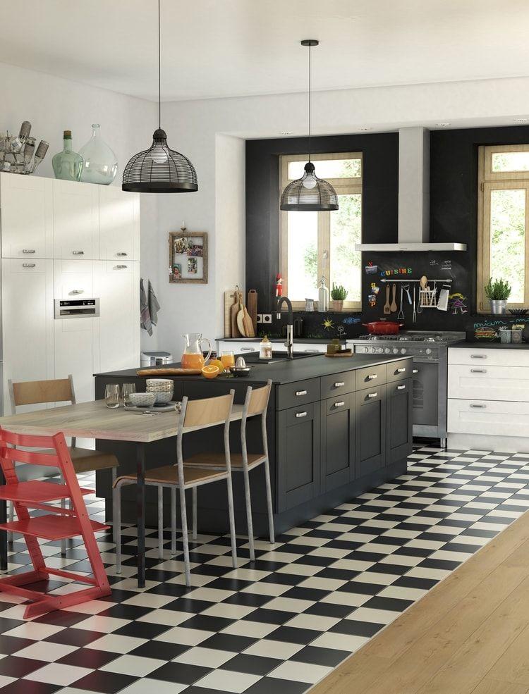 Cuisine Retro Cooke Lewis Kadral Chez Castorama Cuisine Contemporaine Meuble Cuisine Cuisine Noir Et Blanc