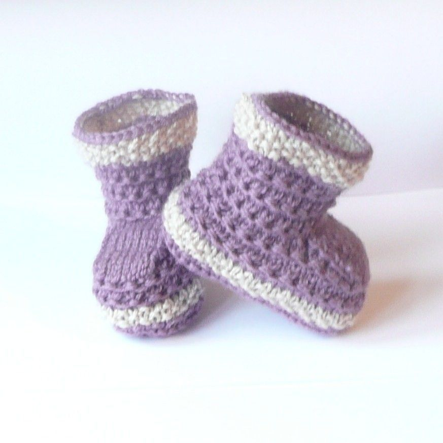 Knitting Pattern Baby Booties Simple Seamless Lilac By Ceradka