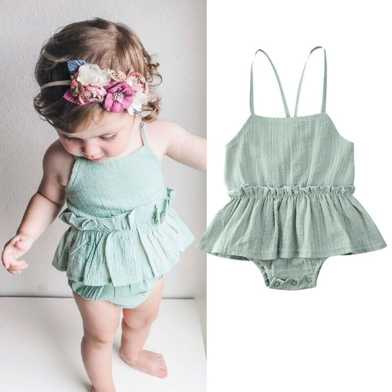Us Newborn Infant Baby Girl Clothes Sleeveless Romper Jumpsuit Dress Cotton Linen Outfit Sum Baby Girl Dress Baby Girl Outfits Newborn Baby Girl Outfits Summer